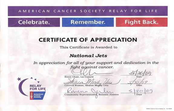 Relay for Life certificate